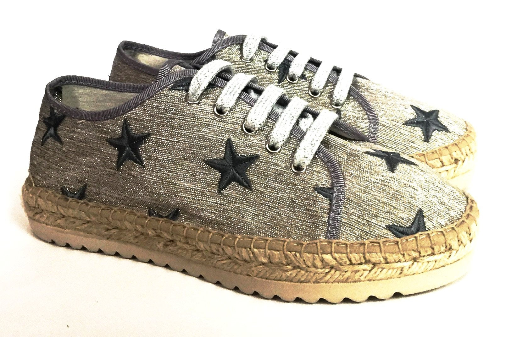 Maison de L'Espadrille Gray Star Espadrille-Tassel Children Shoes