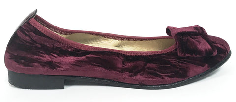 Andanines Burgundy Velvet Ballet-Tassel Children Shoes