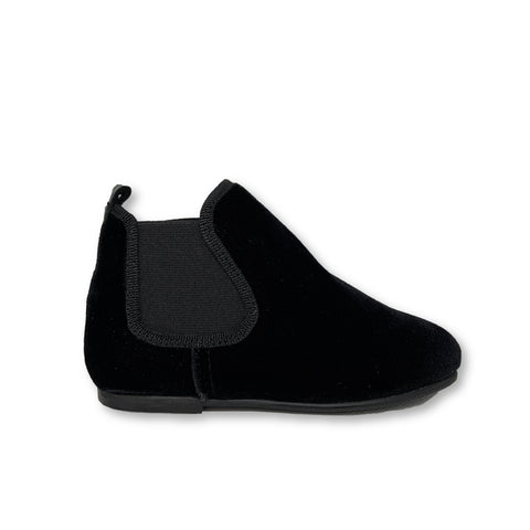 Blublonc Black Velvet Bootie-Tassel Children Shoes