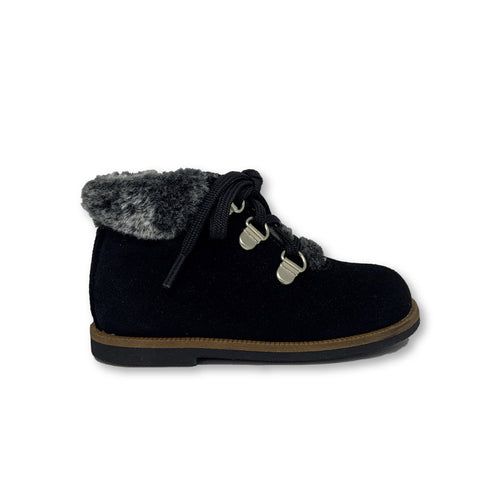 Blublonc Black Suede Fur Lace Bootie-Tassel Children Shoes