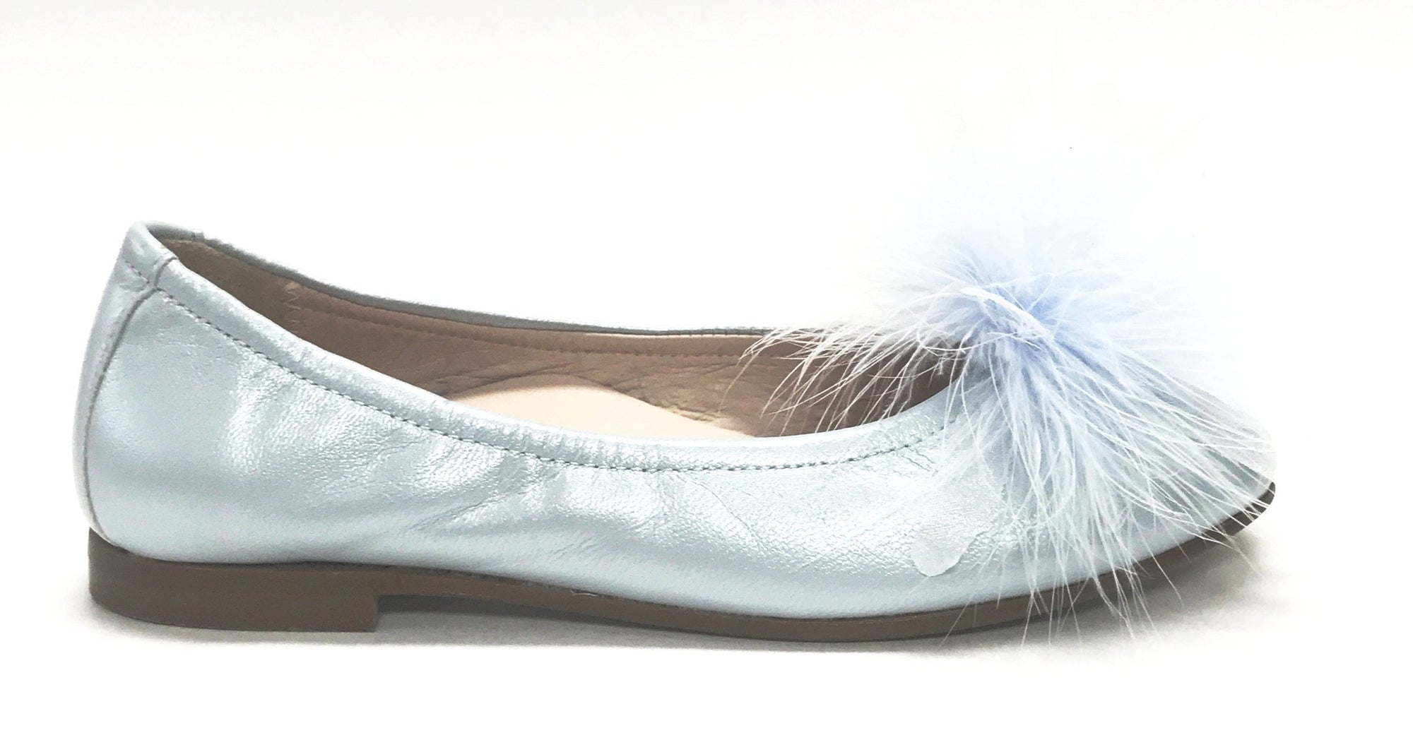 Beberlis Baby Blue Feather Ballet Flat-Tassel Children Shoes