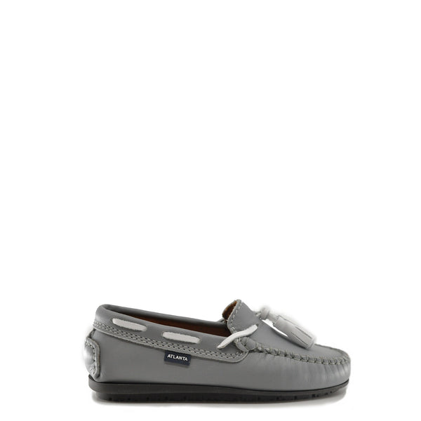 Atlanta Mocassin Stone and White Tassel Loafer-Tassel Children Shoes