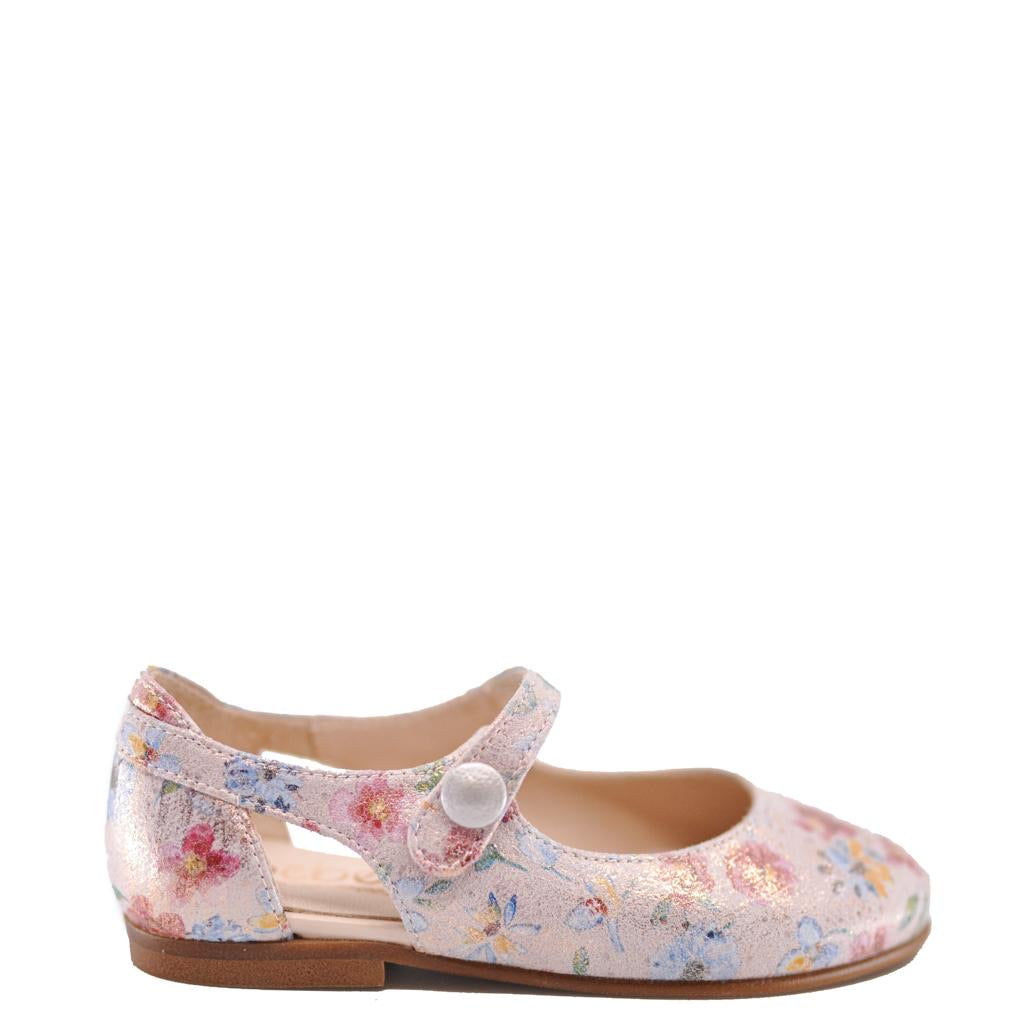 Beberlis Pink Floral Slit Back Mary Jane-Tassel Children Shoes