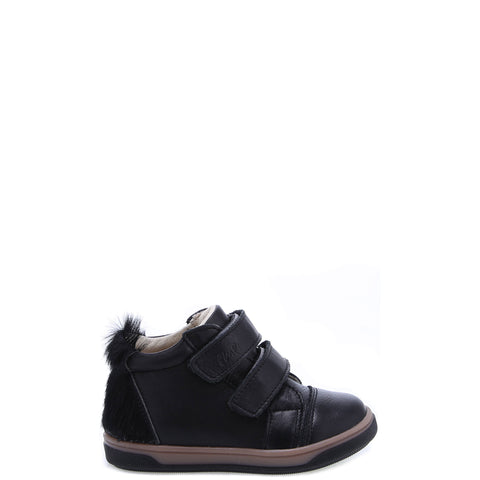 Emel Black Fur Velcro Baby Sneaker-Tassel Children Shoes