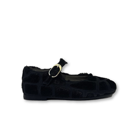 Blublonc Black Spotted Pony Hair Mary Jane-Tassel Children Shoes