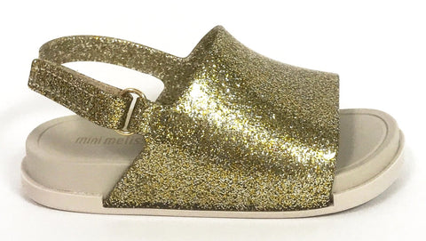 Mini Melissa Gold Glitter Beach Slide-Tassel Children Shoes