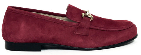 Hoo Deep Red Suede Chain Loafer-Tassel Children Shoes