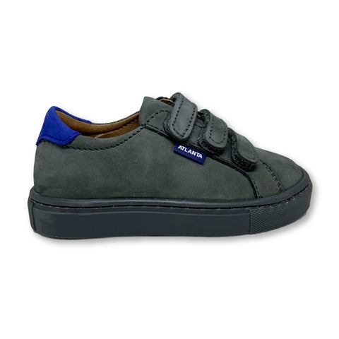 Atlanta Mocassin Gray Velcro Sneaker with Blue Back-Tassel Children Shoes