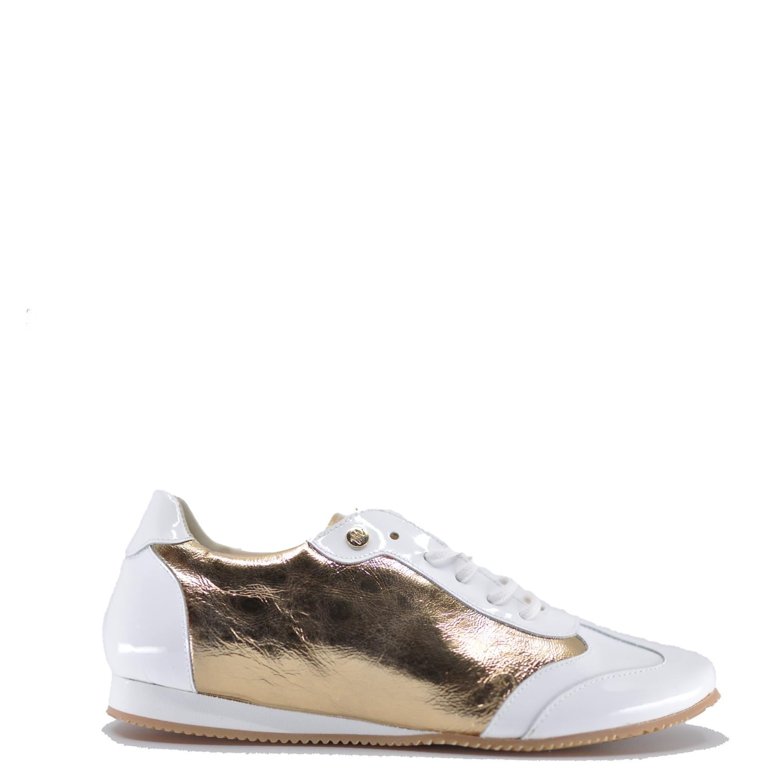 Manuela Gold and White Dress Sneaker-Tassel Children Shoes