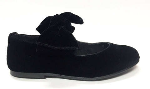 Blublonc Black Velvet Bow Ballet-Tassel Children Shoes