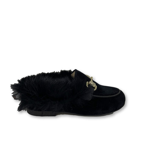 Hoo Black Velvet Fur Mule-Tassel Children Shoes