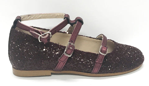 Sonatina Burgundy Glitter Double Strap Mary Jane-Tassel Children Shoes