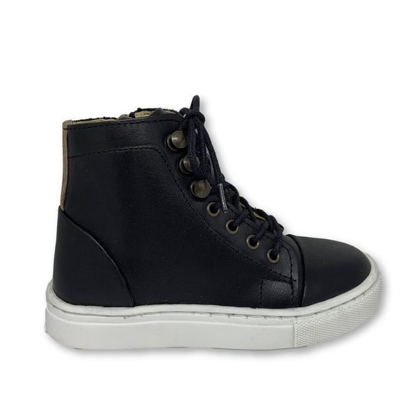 Young Soles Black Leather High Top Sneaker-Tassel Children Shoes