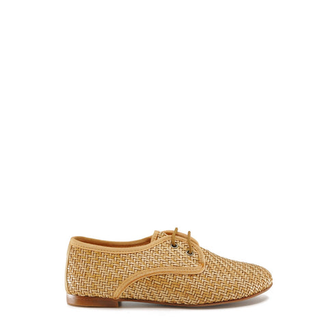 LMDI Collection Camel Wicker Lace Derby-Tassel Children Shoes