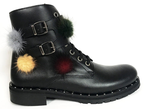 Confetti Black Multi-color Pom Boot-Tassel Children Shoes
