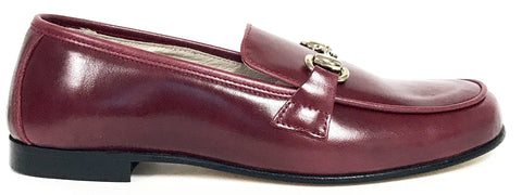 Hoo Burgundy Leather Chain Loafer-Tassel Children Shoes