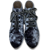 Papanatas Blue/Gray Crushed Velvet Bootie-Tassel Children Shoes