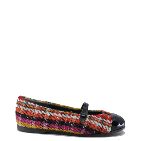 Pepe Red Wool Plaid and Patent Strap Shoe-Tassel Children Shoes