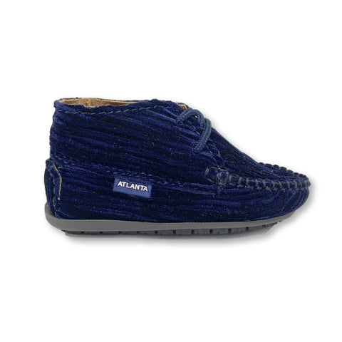 Atlanta Mocassin Navy Velvet Lined Bootie-Tassel Children Shoes