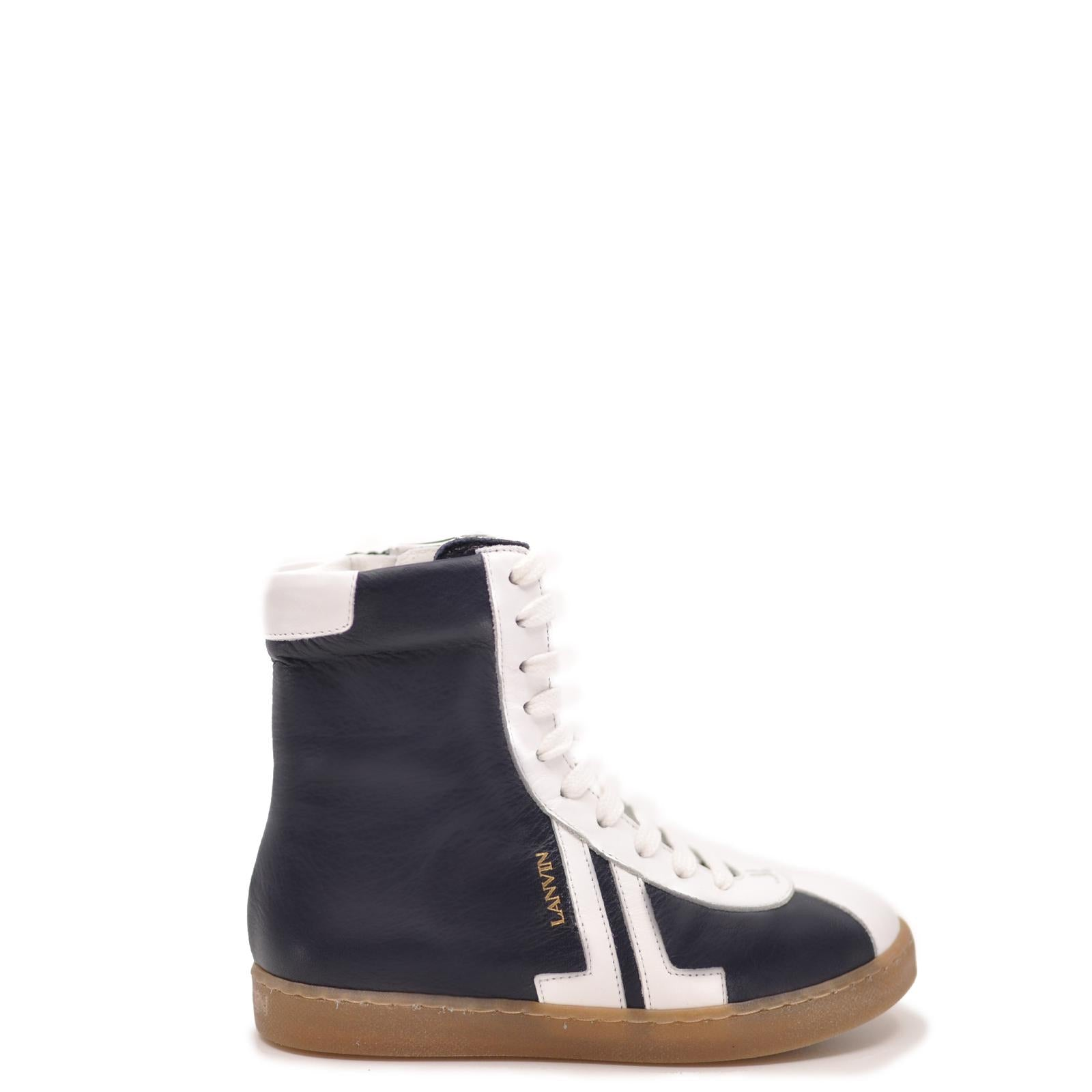 Lanvin Navy and White Lace Sneaker Boot-Tassel Children Shoes