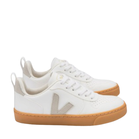 Veja White Lace-up Sneaker with Natural Sole-Tassel Children Shoes