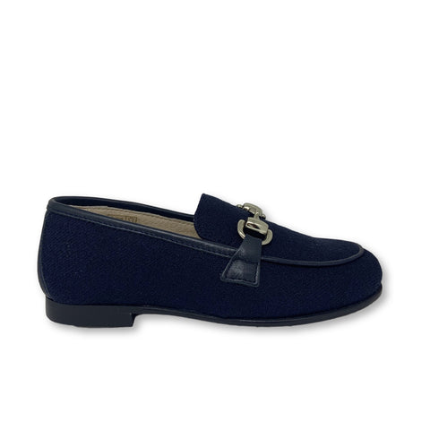 Hoo Navy Wool Chain Loafer-Tassel Children Shoes