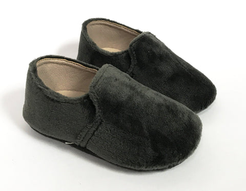 Zeebra Grey Velvet Loafer (Soft Sole)-Tassel Children Shoes