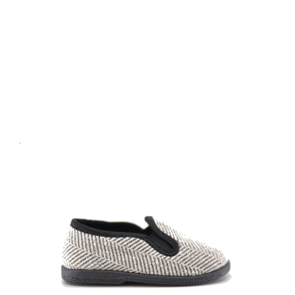 Pepe Black and White Herringbone Slip On Shoe-Tassel Children Shoes