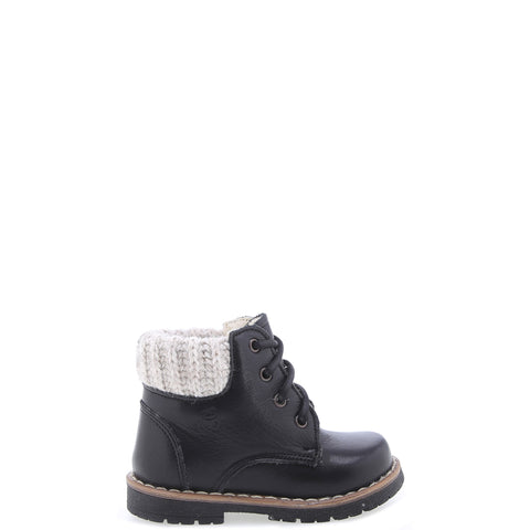 Emel Black Leather Lace Up Baby Boot-Tassel Children Shoes