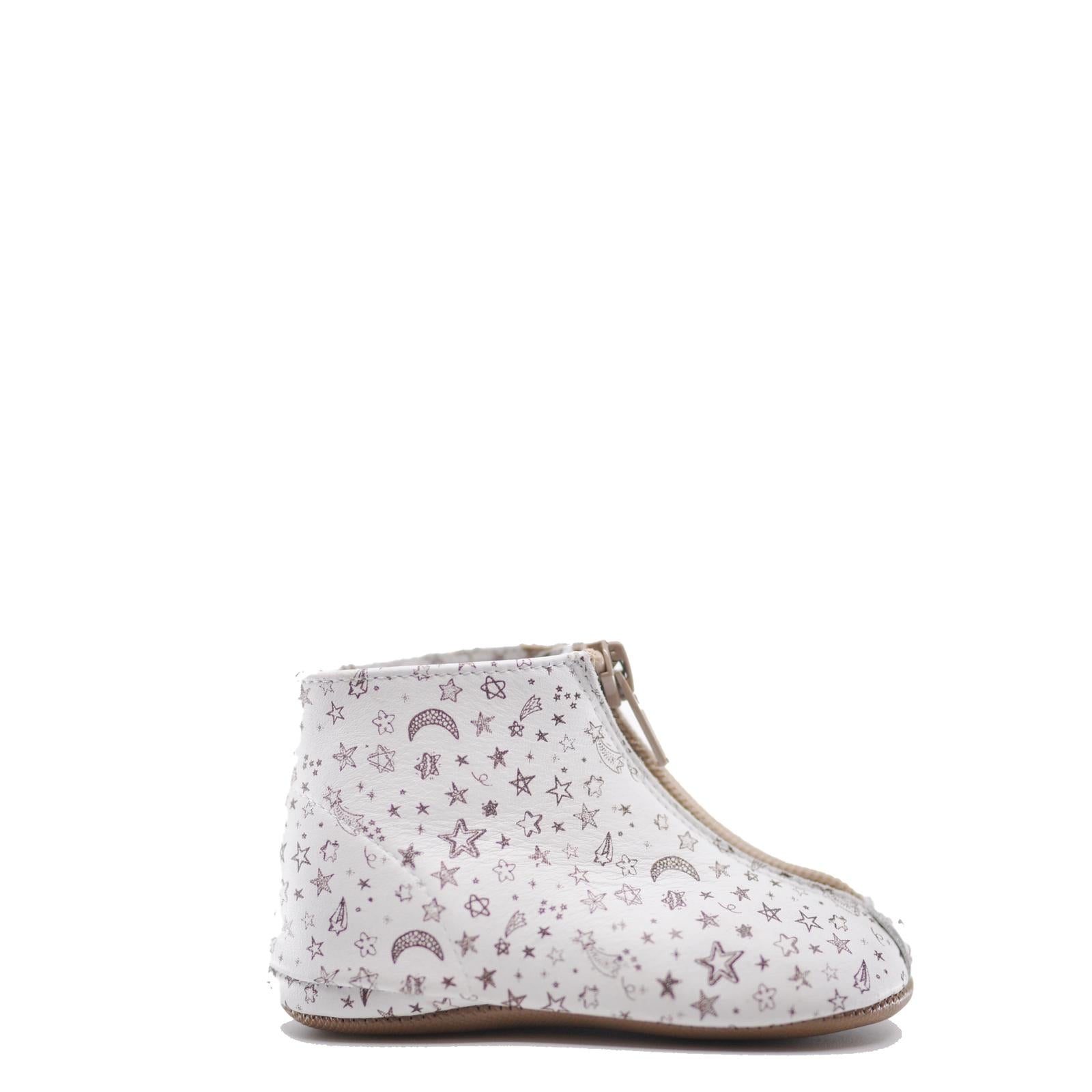 Pepe White Printed Zipper Baby Bootie-Tassel Children Shoes