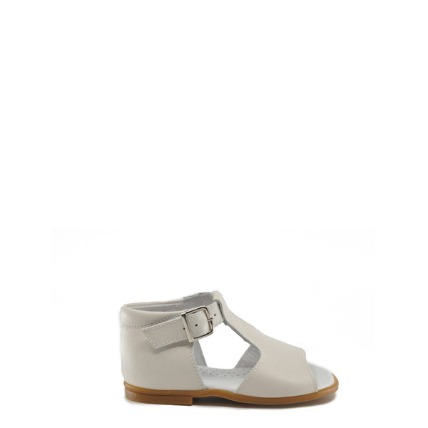 Beberlis White Textured Leather T-Strap Sandal-Tassel Children Shoes
