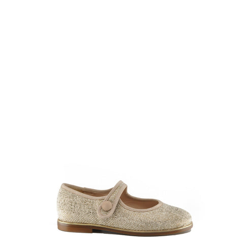 Beberlis Beige Linen Mary Jane-Tassel Children Shoes