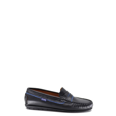 Atlanta Mocassin Black and Blue Leather Penny Loafer-Tassel Children Shoes