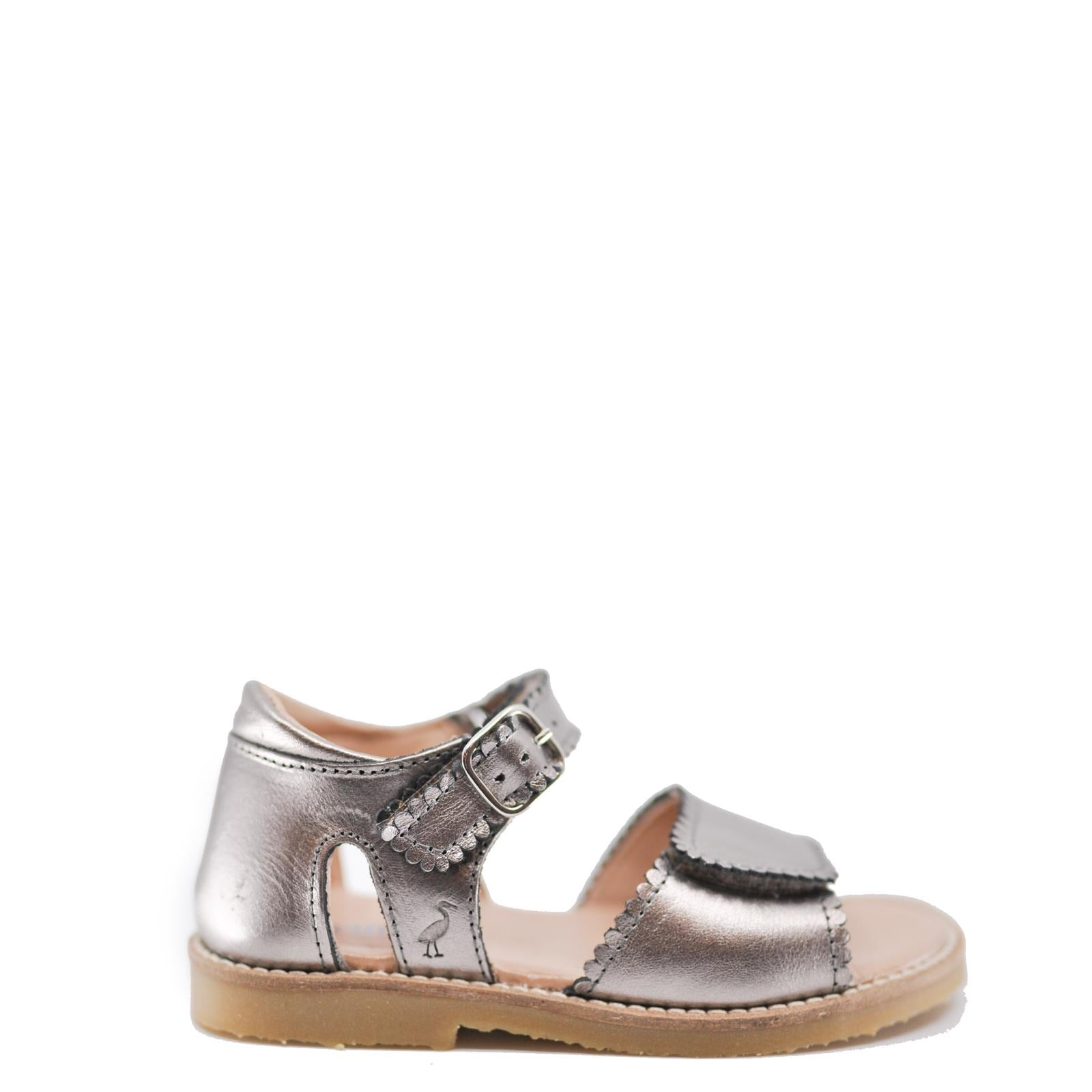 Petit Nord Gunmetal Scalloped Sandal-Tassel Children Shoes
