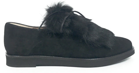 Marian Black Suede Fur Oxford-Tassel Children Shoes