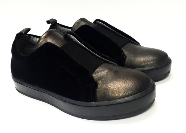 Blublonc Black Velvet/Bronze Elastic Slip-on Sneaker-Tassel Children Shoes