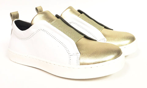 Blublonc White And Gold Elastic Sneaker-Tassel Children Shoes