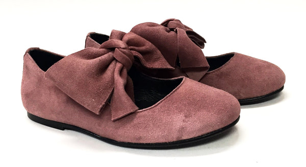 Blublonc Mauve Suede Bow Ballet-Tassel Children Shoes