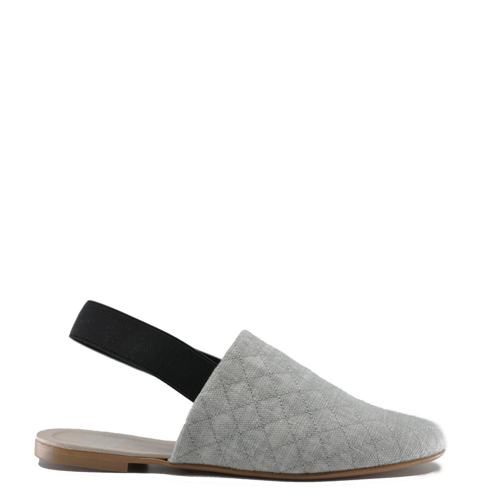 Hoo Gray Denim Quilted Slingback-Tassel Children Shoes