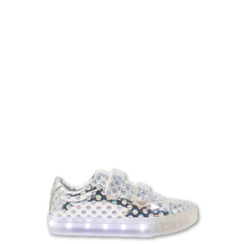 POP Velcro Silver Dot Light-Up Sneaker-Tassel Children Shoes