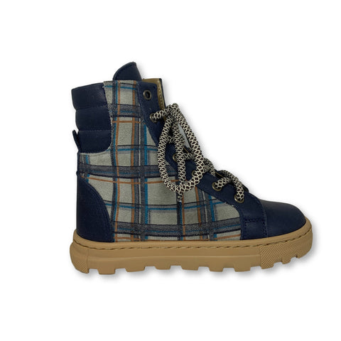 Pepe Navy Checkered Boot-Tassel Children Shoes