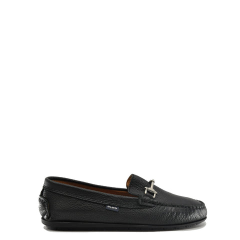 Atlanta Mocassin Black Pebbled Leather Buckle Loafer-Tassel Children Shoes