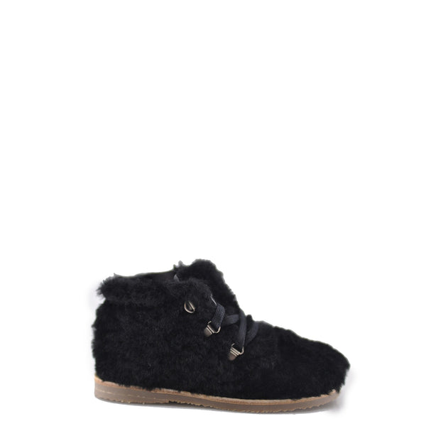 Manuela Black Teddy Bootie-Tassel Children Shoes