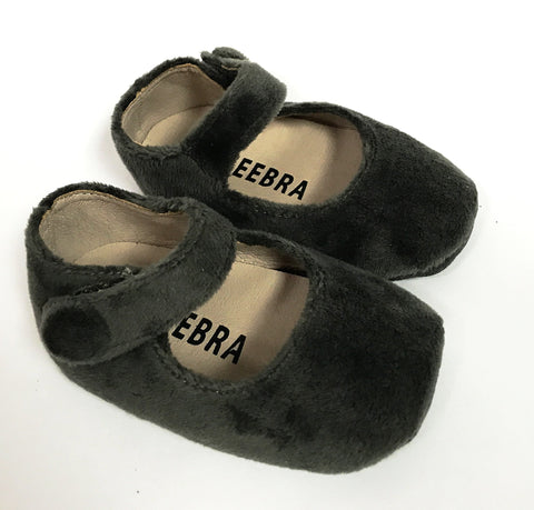 Zeebra Grey Velvet Mary Jane (Soft Sole)-Tassel Children Shoes