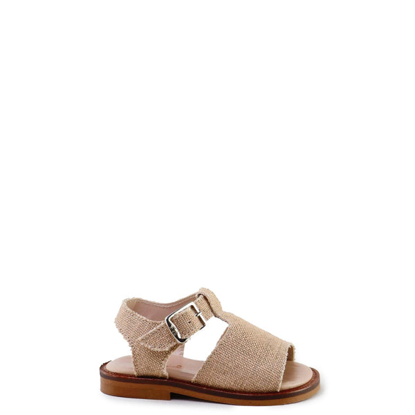 Papanatas Camel Linen T-Strap Sandal-Tassel Children Shoes