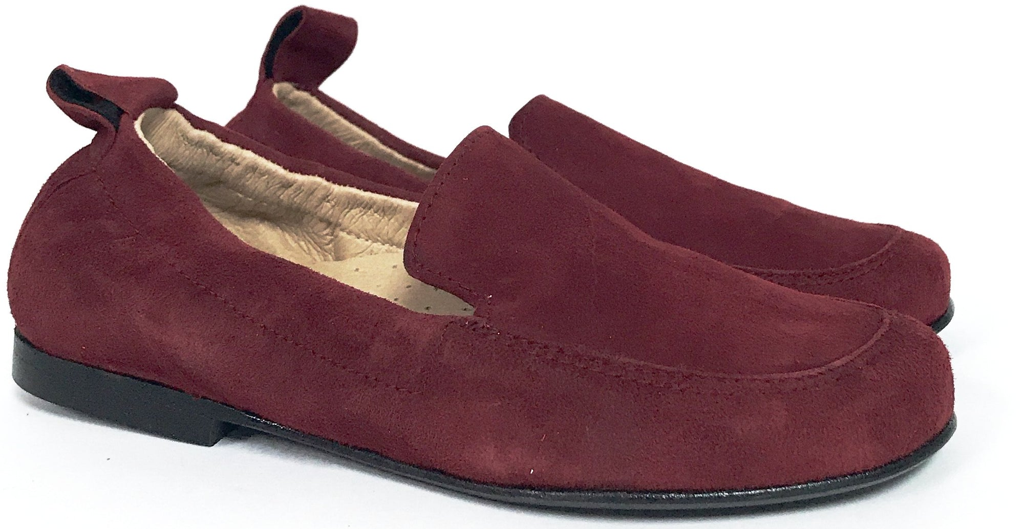 Hoo Burgundy Suede Elastic Loafer-Tassel Children Shoes