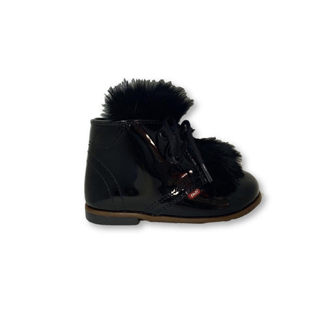 Emel Black Patent Fur Bootie-Tassel Children Shoes