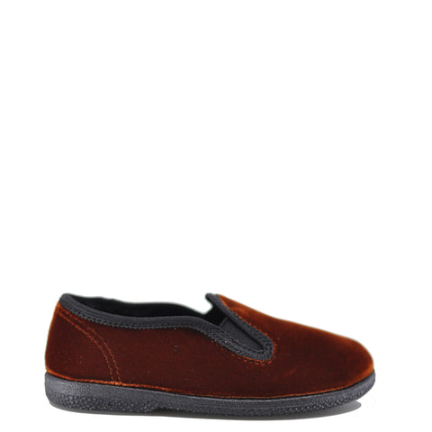 Pepe Brown Velvet Slip On Shoe-Tassel Children Shoes