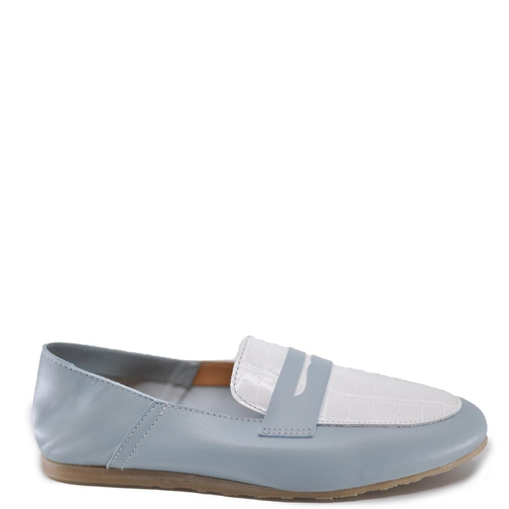 LMDI Sky and White Penny Loafer-Tassel Children Shoes