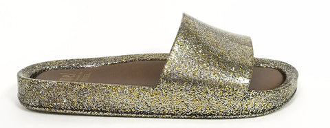 Melissa Mixed Gold Glitter Beach Slide-Tassel Children Shoes